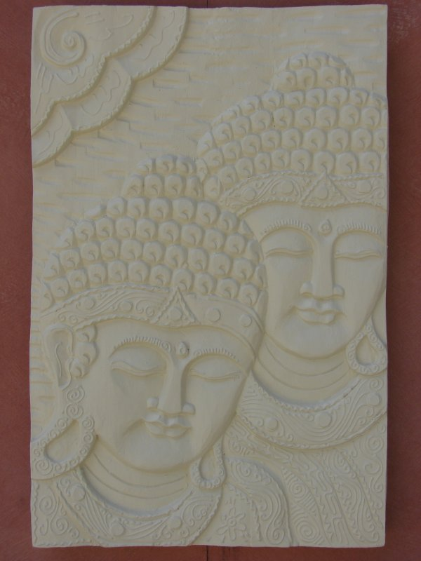 Wall Plaque Twin Buddah Heads (click to enlarge)