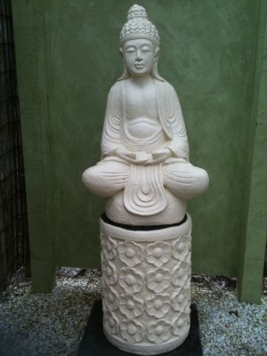 Medium Sitting Buddha on Base with Frangipani Stand(cream) (click to enlarge)